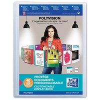 Elba Polyvision Display Book, 20 Clear Pockets, Clear, A4