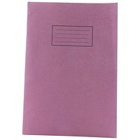 Silvine Ruled Exercise Book, A4, With Margin, 80 Pages, Purple, Pack of 10