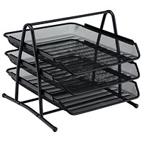 5 Star Scratch-resistant 3-Tier Mesh Letter Tray, Stackable, Front-load, Portrait Foolscap, Black
