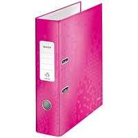 Leitz WOW A4 Lever Arch Files, 80mm Spine, Pink, Pack of 10