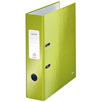 Leitz WOW A4 Lever Arch Files, 80mm Spine, Green, Pack of 10