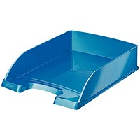 Leitz Bright Stackable Letter Tray - Glossy Metallic Blue