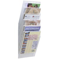 Durable Flexiboxx Literature Holder, Wall-Mountable, 6 Pockets, Portrait, A4, Clear