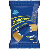 Sellotape Original Golden Tape Rolls - Small, Non-static, Easy-tear, 18mm x 33m, Pack of 8