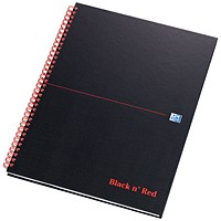 Black n' Red Matte Black Wirebound Notebook, A4, Ruled & Perforated, 140 Pages, Pack of 5