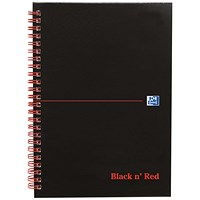 Black n' Red Matte Black Wirebound Notebook, A5, Ruled & Perforated, 140 Pages, Pack of 5