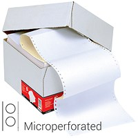 5 Star Computer Listing Paper, 2 Part, A4 (11.66 inch x 235mm), Microperforated, White & Yellow Sheets, Box (1000 Sheets)