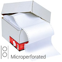 5 Star Computer Listing Paper, 1 Part, 12 inch x 235mm, Microperforated, Plain White, 70gsm, Box (2000 Sheets)