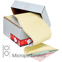 5 Star Computer Listing Paper, 4 Part, A4 (11.66 inch x 235mm), Microperforated, White, Pink, Green & Yellow Sheets, Box (500 Sheets)