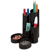 5 Star Desk Tidy with 6 Compartments - Black