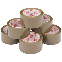 5 Star Packaging Tape, Polypropylene, 48mm x 66m, Buff, Pack of 6