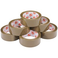 5 Star Packaging Tape, Polypropylene, 38mm x 66m, Buff, Pack of 6