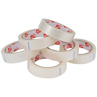 5 Star Large Clear Tape Rolls, 25mm x 66m, Pack of 6