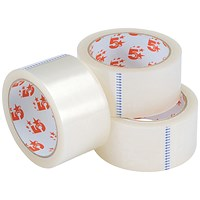 5 Star Large Clear Tape Rolls / 48mm x 66m / Pack of 3