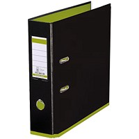 Elba MyColour A4 Lever Arch File, Plastic, 80mm Spine, Black & Lime