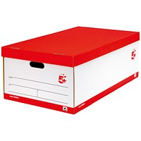5 Star Jumbo Storage Boxes, Red & White, Pack of 5