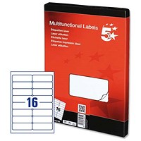 5 Star Multipurpose Laser Labels, 16 per Sheet, 99.1x34mm, White, 1600 Labels