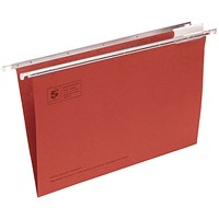 5 Star Suspension Files / V Base / 15mm Capacity / Foolscap / Red / Pack of 50