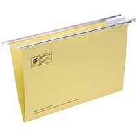5 Star Suspension Files / V Base / 15mm Capacity / Foolscap / Yellow / Pack of 50