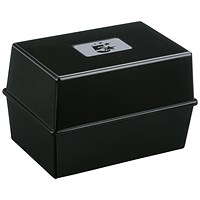 5 Star Card Index Box, Capacity: 250 Cards, 203x127mm, Black