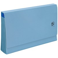 5 Star De Luxe Expanding File with Flap, 16 Pockets, A-Z, 12 Months, 1-31, Foolscap, Blue