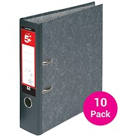 5 Star Foolscap Lever Arch Files, Cloudy Grey, Pack of 10