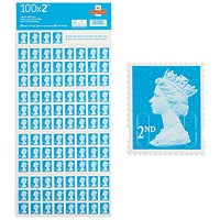 Royal Mail 2nd class postage stamps – 100 per pack