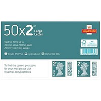 Royal Mail 2nd class postage stamps for large letters – 50 Per Pack