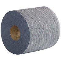 2Work 2-Ply Centrefeed Roll 100m Blue (Pack of 6) 2W03010