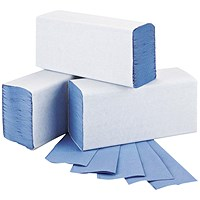 2Work 1-Ply M-Fold Hand Towel Blue (Pack of 3000) 2W71923