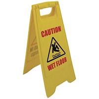 "2-Sided A-Frame Sign - ""Caution Wet Floor"", ""Cleaning in Progress Yellow"""