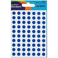 Avery Coloured Labels, 8mm Diameter, Blue, 32-304, 10 x 560 Labels