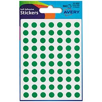Avery Coloured Labels, 8mm Diameter, Green, 32-302, 10 x 560 Labels