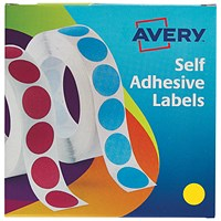 Avery Dispenser for 19mm Diameter Labels, Yellow, 24-508, 1120 Labels