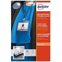 Avery Laser-printable Name Badges Refill Kit, 8 per Card, W86.5xH55.5mm, L7418-25UK, 25 Sheets