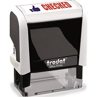 "Trodat Office Printy Self-Inking Stamp, ""Checked"", Reinkable, Red & Blue"