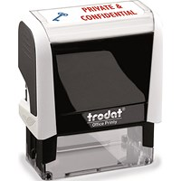 "Trodat Office Printy Self-Inking Stamp, ""Private & Confidential"", Reinkable, Red & Blue"