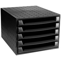 Exacompta Recycled 5 Drawer Set, W387xD284xH218mm, Black