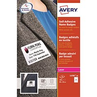 Avery Laser Name Badge Labels, Self-adhesive, 80x50mm, White, L4785-20, 200 Labels