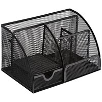 5 Star Mesh Desk Organiser, Scratch-resistant with Non-marking Rubber Pads, Black