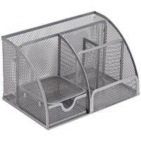 5 Star Mesh Desk Organiser, Scratch-resistant with Non-marking Rubber Pads, Silver