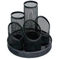 5 Star Mesh Pencil Pot with 5 Tubes, Scratch-resistant with Non-marking Base, Black