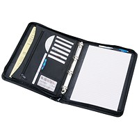 5 Star Zipped 4 Ring Binder Folder with Pad - Black