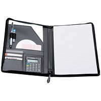 5 Star Zipped Writing Case with Pad & Calculator, Leather-Look, A4, Black