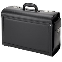 Alassio Genova Pilot Case, Multi-section, 2 Combination Locks, Leather-look, Black