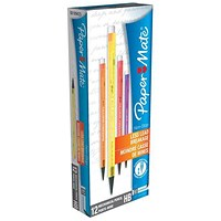 Paper Mate Non-Stop Automatic Pencil, Assorted Neon Barrels, Pack of 12