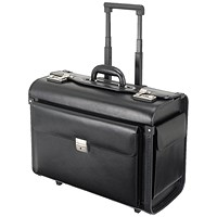 Alassio Silvana Trolley Pilot Case, 2 Combination Locks, Leather-look, Black