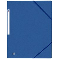 Elba Eurofolio Elasticated Folders, 3-Flap, Foolscap, Blue, Pack of 10