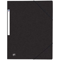 Elba Eurofolio Elasticated Folders / 3-Flap / Foolscap / Black / Pack of 10