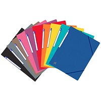 Elba Eurofolio Elasticated Folders, 3-Flap, Foolscap, Assorted, Pack of 10